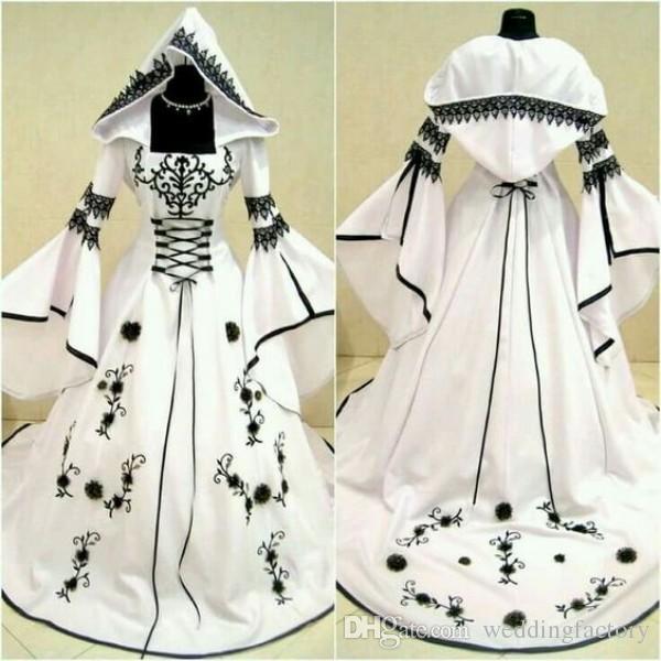 2019 robes de mariée noir et blanc celtique vintage avec chapeau une ligne robes de mariée uniques avec broderie exquise corset haut fait sur mesure