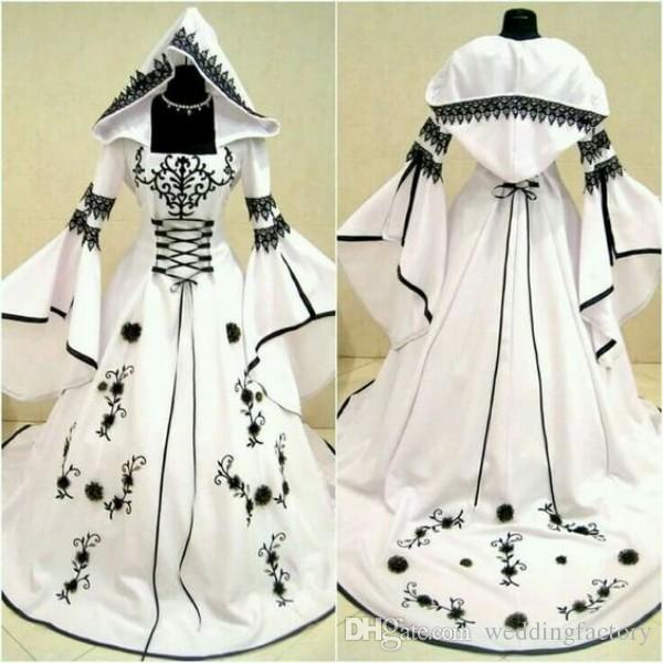 2019 Vintage Celtic Vestidos de novia en blanco y negro con sombrero Una línea Vestidos de novia únicos con exquisito bordado Corset Top por encargo