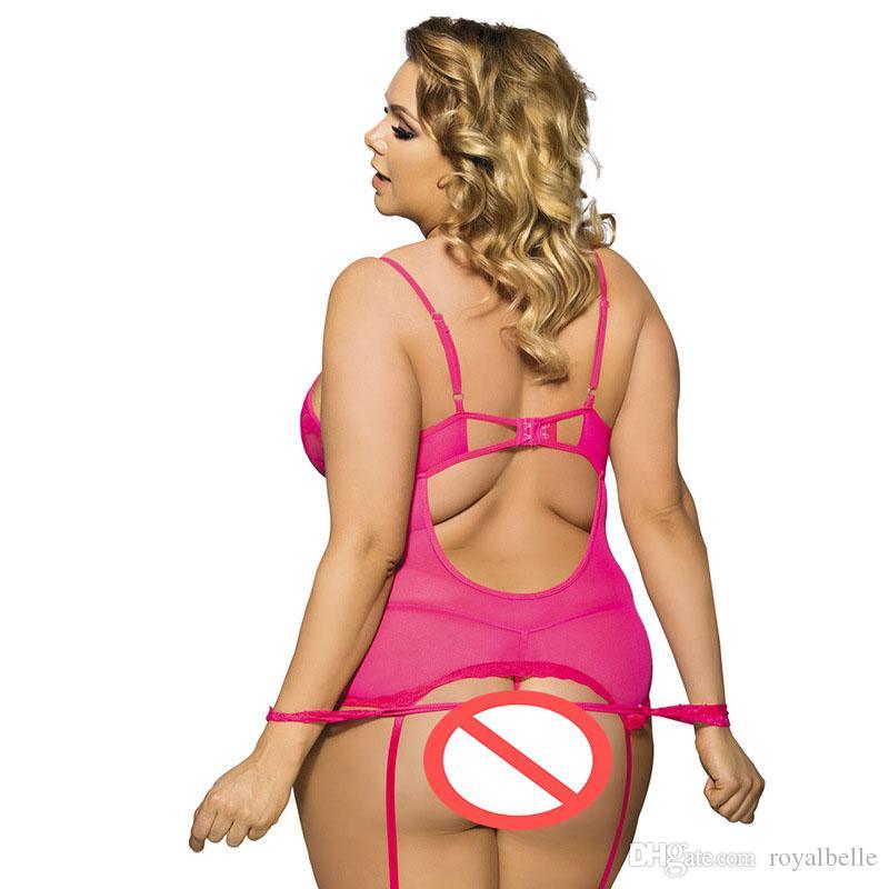 women's open crotch thong langerie Sexy Lingerie Garter Set Plus Size Lace Transparent Midnight Affair Bustier Thong Handcuff Garter 5XL 6XL