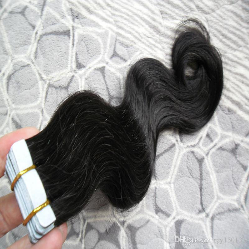 Brazilian PU Hair Skin Weft Hair body wave 100g #1 Jet Black tape in human hair extensions