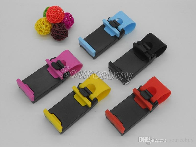 Fast DHL Universal Car Steering Wheel Cradle Socket Holder Clip Car Bike Cell Phone Mounts for Mobile iphone samsung GPS Hands Free Stand