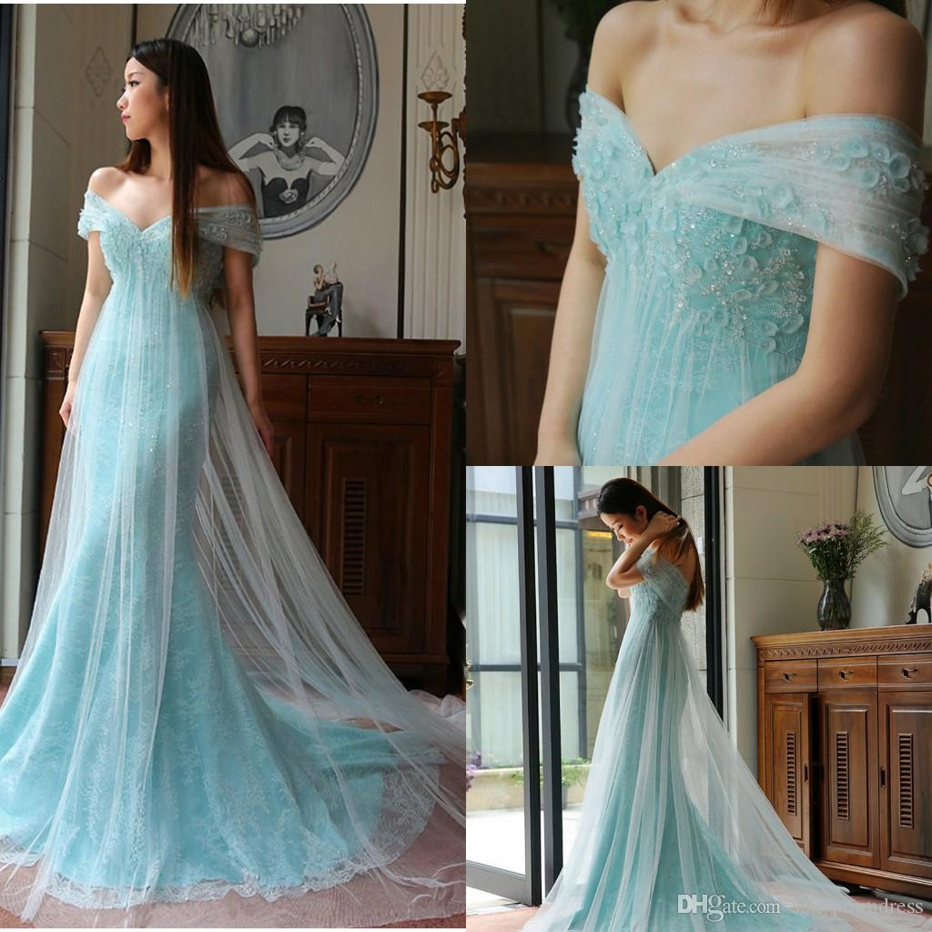 eddf5cdbbf Light Blue Off Shoulder Prom Dresses Soft Tulle Cover Lace Applique Beads  Evening Gowns Sexy Backless Sweep Train Formal Party Dresses Super Cheap  Prom ...