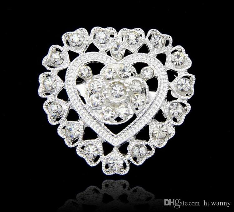 Brooches Pins Hot Sale Fashion Silver Crystal Rhinestone Flower Bouquet Pin Brooche for Women Girl Party Gift Wholesale 0418WH