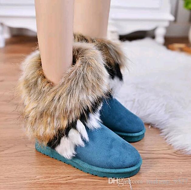 Women's Warm Fur Ball Mid Calf Snow Boots Winter Australia Short Booties