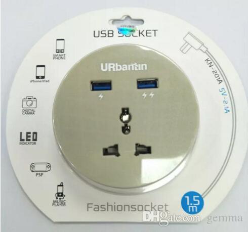 Nouveau Socket 2 Ports 201 Circulaire Universel USB Socket Charging Station Portable Avec Uiversal Power Socker 2 ports Usb Prise de câble murale