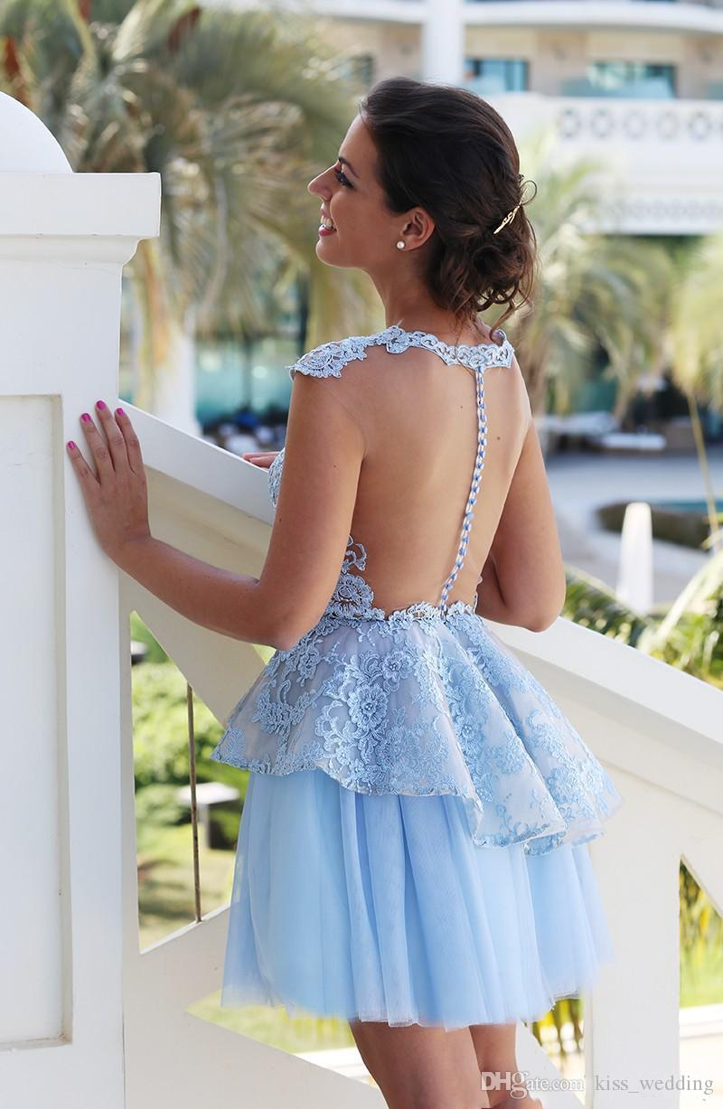 Beautiful Blue Short Prom Dresses Illusion Lace Appliques Cocktail Weddings Guest Dress with Cap Sleeves Sheer Back Cheap Evening Gown