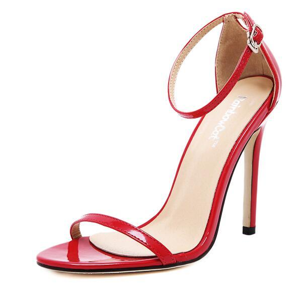 free shipping footlocker pictures Europem 2016 New One word buckle ankle strap Buckle high-heeled sandals Patent Leather Stiletto Heel Pumps Party shoes Size 35-40 free shipping pick a best official site visa payment SLIX65j5M