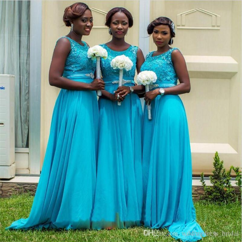 2019 Cheap Turquoise Bridesmaid Dresses Long Maid of Honor Dress for Wedding Party Guest Scoop Lace Chiffon Floor Length Formal Prom Dresses