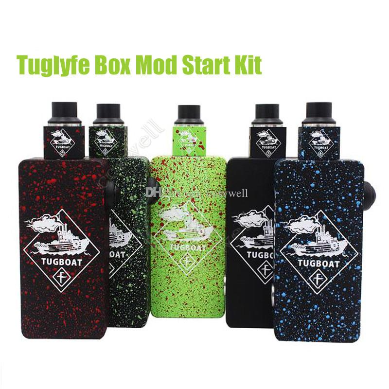 Tugboat Box Mod Kit with Tugboat Cubed RDA Atomizers Tuglyfe Unregulated Box Mod Starter Kit fit Dual 18650 battery DHL Free