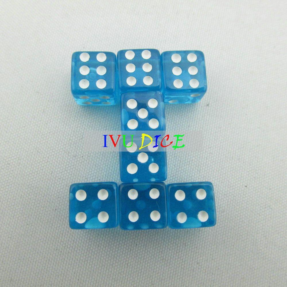 100 pz 8 MM Dadi 6 lati Trasparente BLU con punto BIANCO 1-6 gioco mahjong automatico KTV partito macchina dado IVU