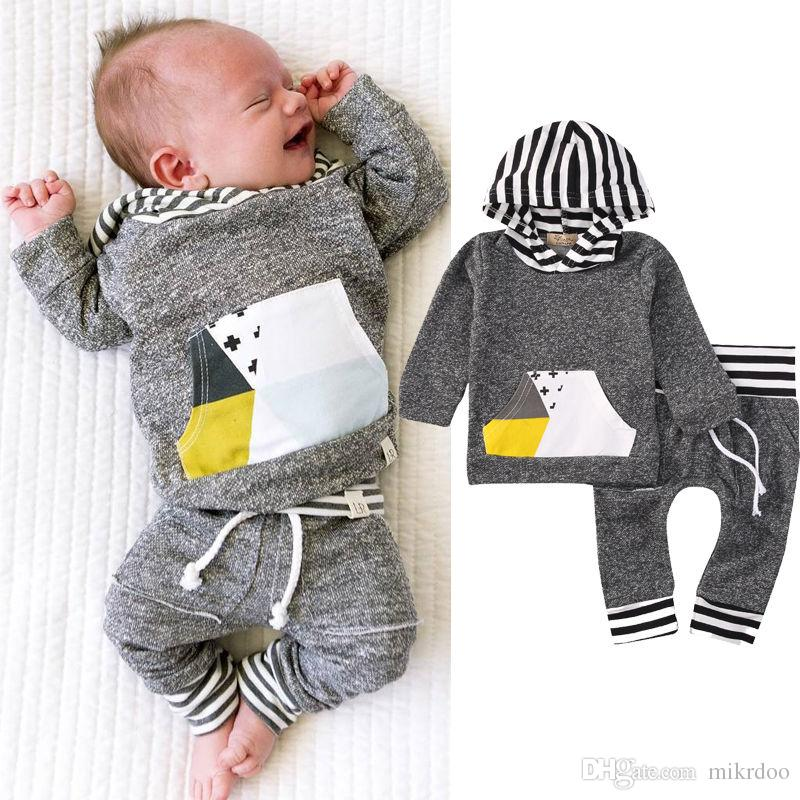 Hot Newborn Baby Girls Boys Clothes Suits Grey Striped Hooded Sweatshirt Tops Long Pant Set Cotton Casual Kids Outfits Mikrdoo Clothing