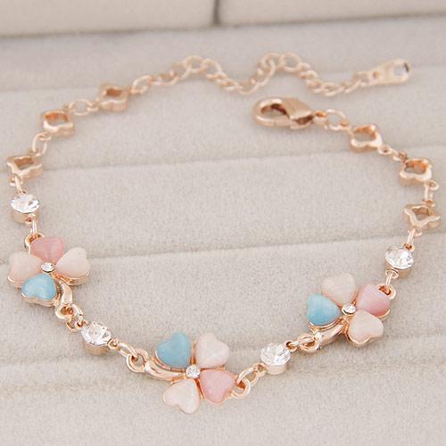High End Refinement Korean Fashion Fine Jewelry Accessories OL Opal Czech Drilling Plant Clover Gold Warp Charm Chain Bracelets For Women