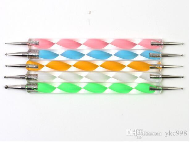 5 stücke 2 Möglichkeiten Stahl Punktierung Dot Marbleizing Stift Nagel Werkzeug Nail art Dekoration Maniküre Blume Stift Werkzeug