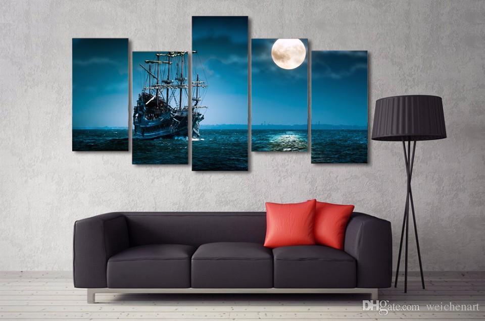5 Paneli HD Baskılı Fantezi Gemi Tekne Sanat Okyanus Deniz Tuval Odası Dekor Poster Resim Tuval Duvar Boyama Baskı Baskı Boyama