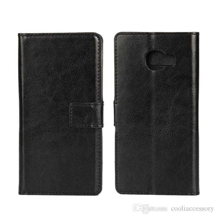 Crazy Horse PU Cartera de cuero bolsa Flip caso para Huawei P9 Lite G9 V8 para Samsung Galaxy C5 J510 J710 J5 J7 2016 soporte tarjeta piel cubierta 1 piezas