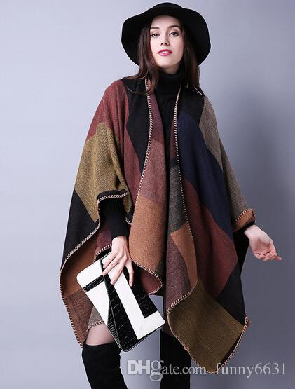 automne hiver écharpe grille femme voyage châles laine filature dames manteau d'intensification nationale 18 couleurs cap partie de noël cappa