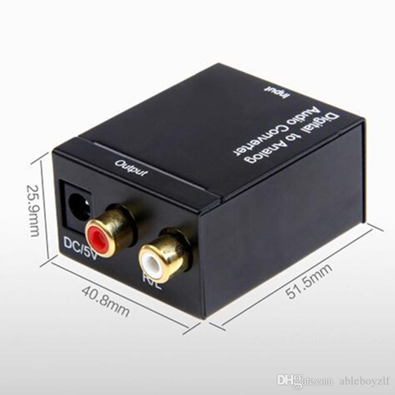 Optischer 3,5-mm-Koaxial-Toslink-Digital-Analog-Audio-Adapter-Konverter RCA L / R mit Lichtwellenleiter-Netzteil