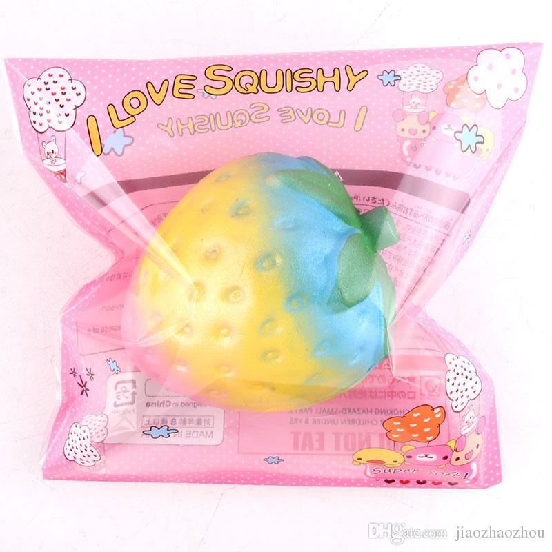 Original Rainbow Strawberry Squishy Slow Rising Jumbo Bling Fruit Straps Soft Cream Scented Bread Cake Kid Fun Toy Gift