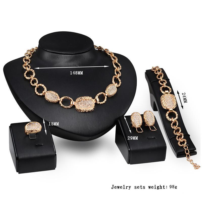 Ohrringe Halskette Armband Ring Schmuck Set Luxus Exquisite Frauen Strass 18K Gold Plated Legierung Oval Hochzeit Schmuck 4-teiliges Set JS186