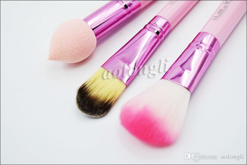 Hallo kitty make-up pinsel set + spiegel fall lidschatten erröten pinsel kit rosa bilden toilettenartikel schönheit geräte 8 stück kinder kosmetische werkzeuge