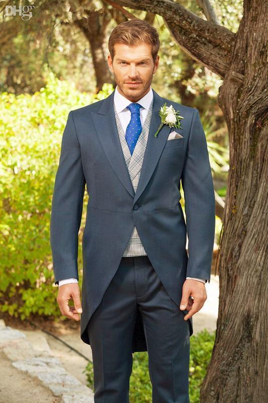 Tailcoat dello sposo dello smoking del taillework gessato blu I migliori abiti da sposo dello sposo di nozze degli uomini economici giacca + pantaloni vestito di promenade
