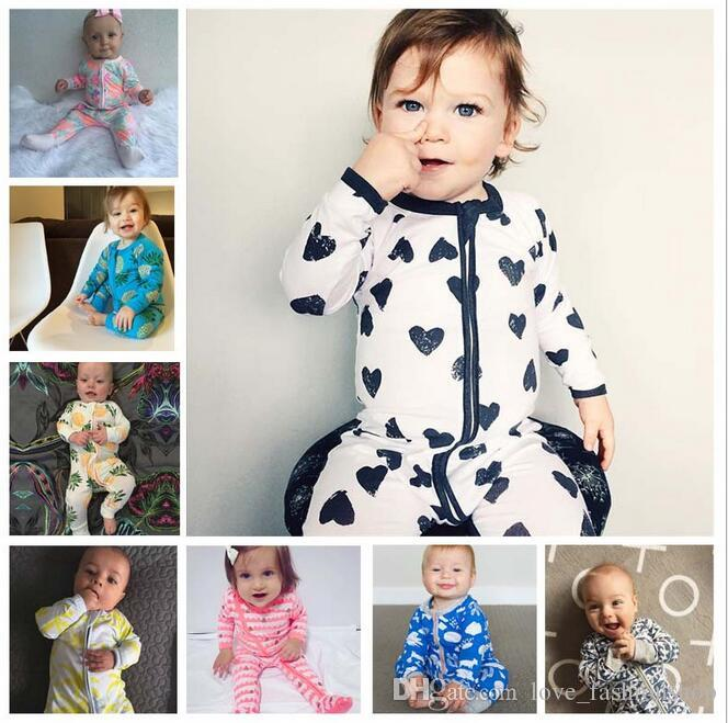 40 Renkler Ins Bebek Baskılı Tulum Tek Parça Onesies Bebek Toddle Tulumlar Sevimli Çocuklar Tırmanma giysi Çocuk Giyim