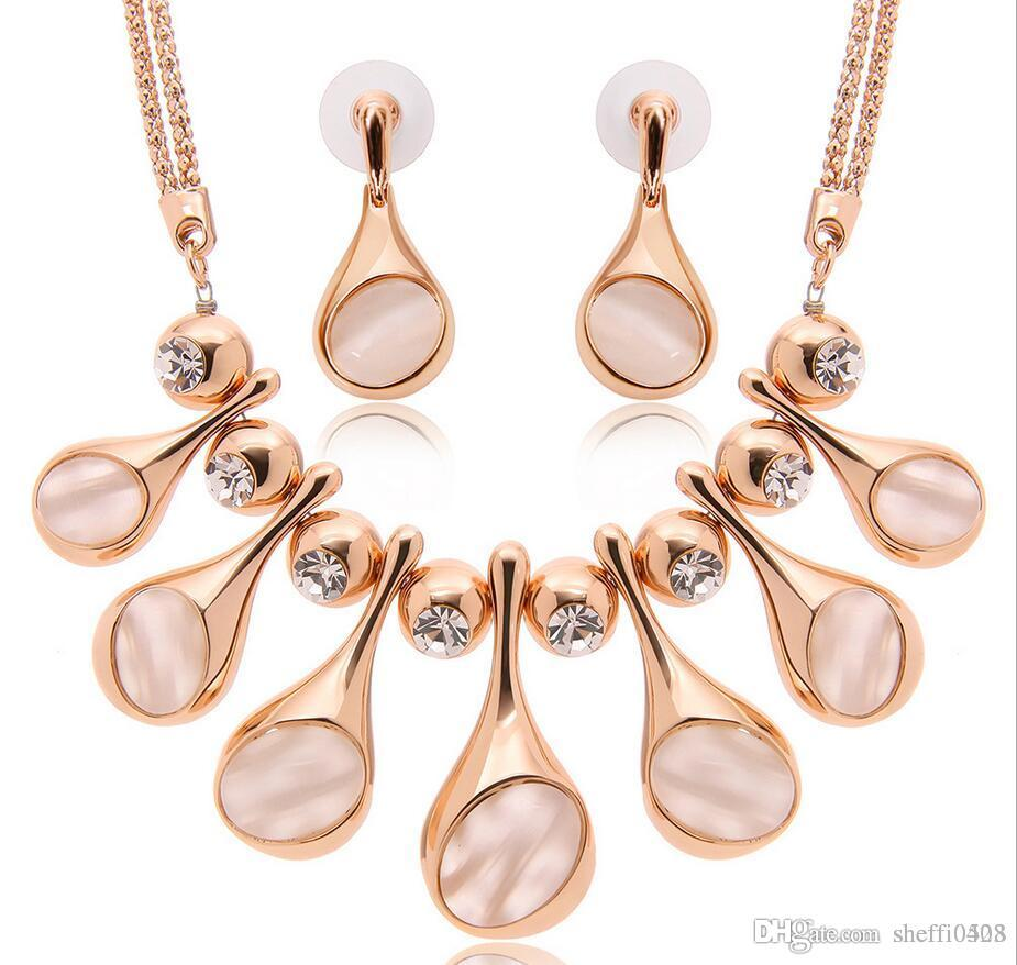 Hot Sale High-Grade Brand Wedding Jewelry Set Fashion Alloy Big Necklace Jewelry 18kgp Earrings Jewelry For Women 61152219