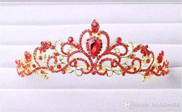 Brillanti cristalli di perline Corone di nozze 2016 Velo di cristallo nuziale Tiara Corona Fascia capelli Accessori feste Tiara nuziale