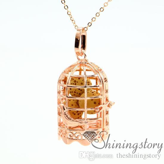 gaiola a céu aberto jóias óleo essencial colar de óleo essencial de jóias por atacado medalhões aroma jóias de metal de pedra vulcânica penda