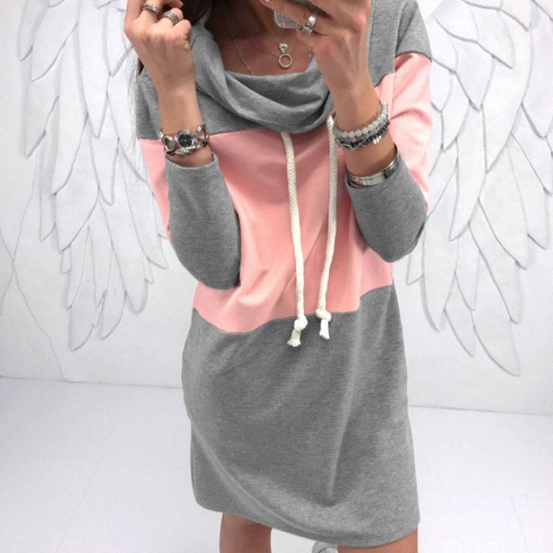 Plus Size Sweatshirts Dress Woman Turtleneck Winter Warm Mini