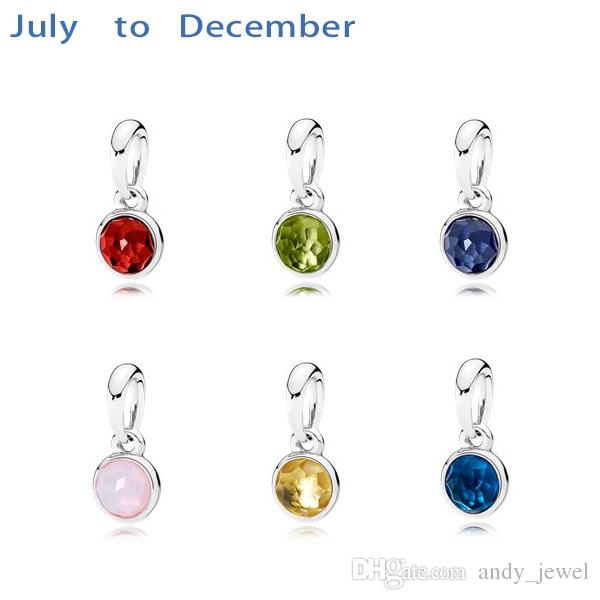 July to December 6 month 925 Sterling Silver Beads Droplet Birthstone Garnet Charms Fits European Pandora Style Jewelry Bracelets 390396