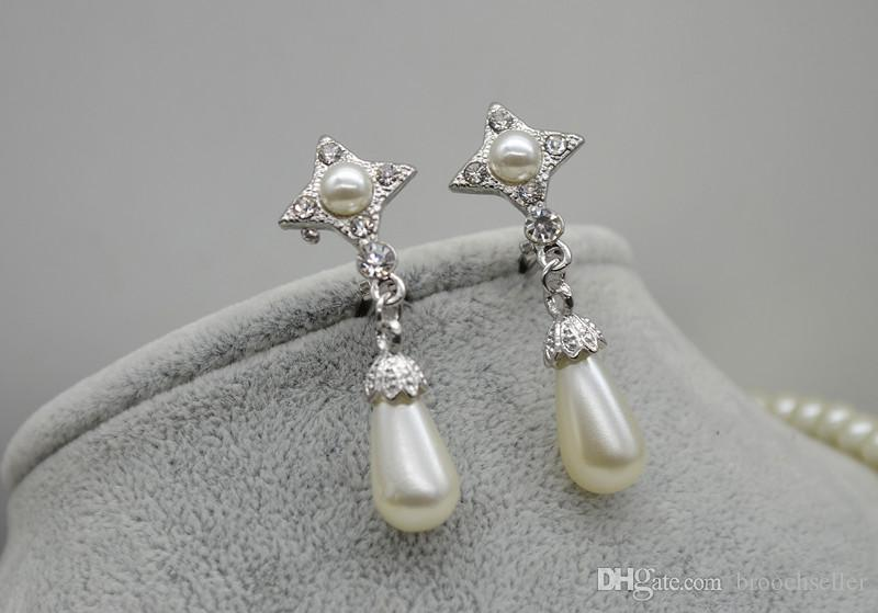 Rhodium Silver Plated Clear Rhinestone Crystal Diamante Double Strand Cream Faux Glass Pearl Bow Bridal Necklace and Earrings Jewelry Sets