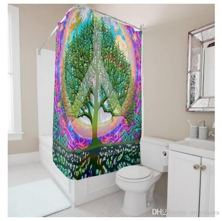 Customs 36/48/60/66/72/80 (W) x 72 (H) Inch Shower Curtain Creative Big Tree Waterproof Polyester Fabric Diy Shower Curtain