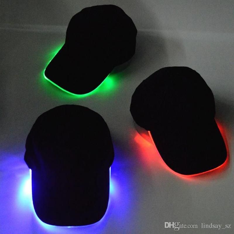 Sombrero de luz LED Glow Hat Tela negra para gorras de béisbol para adultos Luminous es para el tamaño de ajuste de selección de fiesta de Navidad