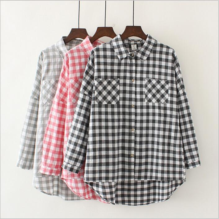 03f9a1894e8 2019 Plaid Shirts Blouses Summer Loose Tops Women Check Grid Cardigans  Lattice Casual Pullover Youth Autumn Coat Long Sleeve Jackets Jumper B2839  From ...