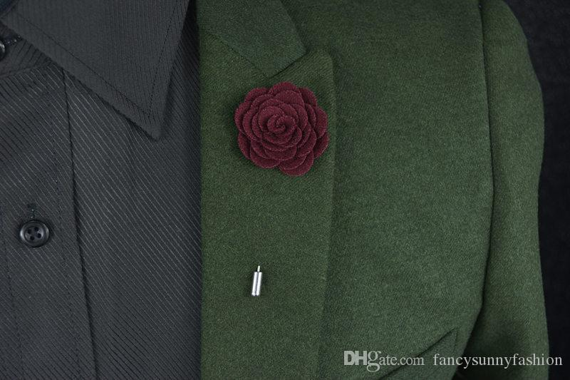 Price Cheap Fashion flower Brooch lapel Pins handmade Boutonniere Stick with Woolen cloth Camellia Flowers for suit Men Accessories