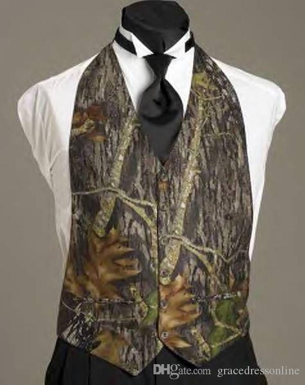 2016 Elegant Camo Vests Realtree Mens Wedding Suits V Neck Formal ...