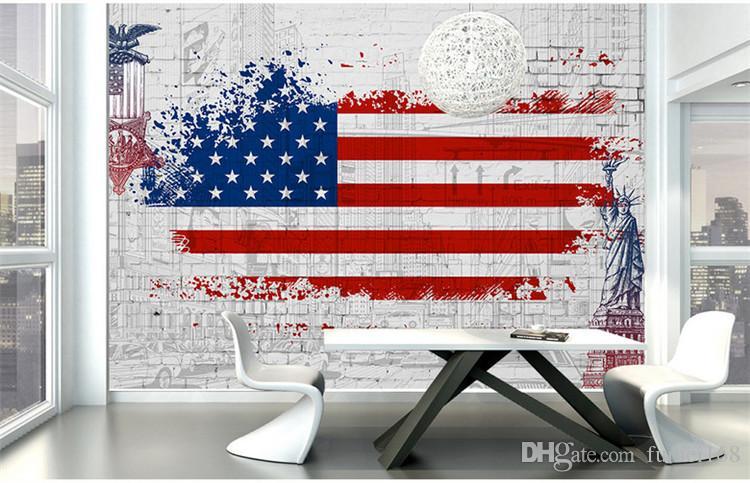 Fondo de pantalla pintado a mano la bandera de los Estados Unidos de la estatua de la libertad de la ciudad restaurante creativo bar salón papel pintado grandes murales