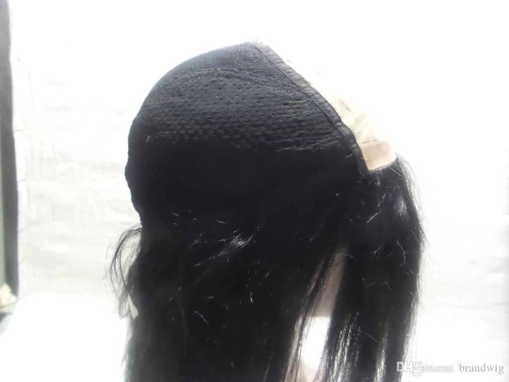 Peluca de pelo de caballo recto y sedoso Cabello humano brasileño original 100% de cordones de peluca de encaje completo Cojín de pelo de cola de 150% grueso para mujeres negras