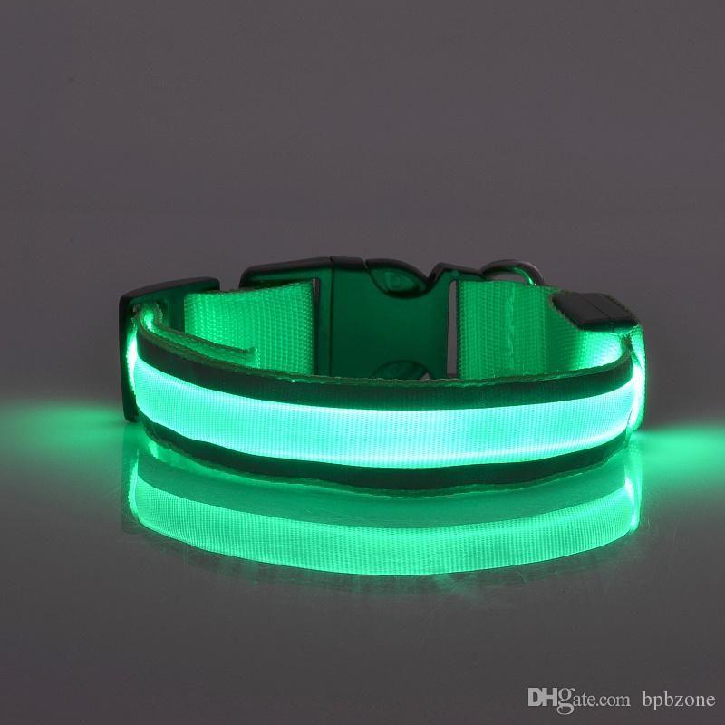 LED Flashing Light Dog collar Pet Belt Harness Leash Tether dog supplies Safety Nylon Collar LED Collar LED Nylon Neck Strap