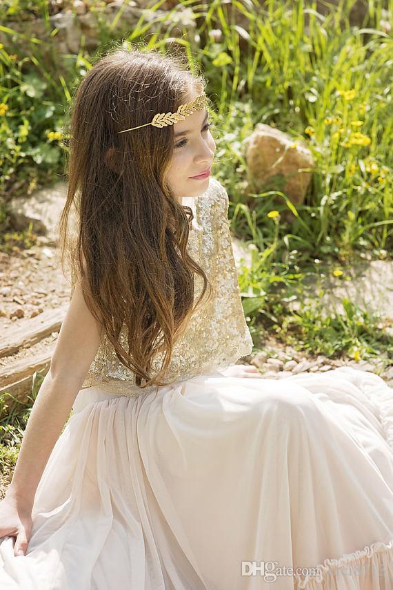 Altın Boho Çiçek Kız Elbise Şampanya Genç Gelinlik Giydirme Bohemian Küçük Kızlar Düğün Aşınma Çocuklar Resmi Önlük İlk Communion Elbise