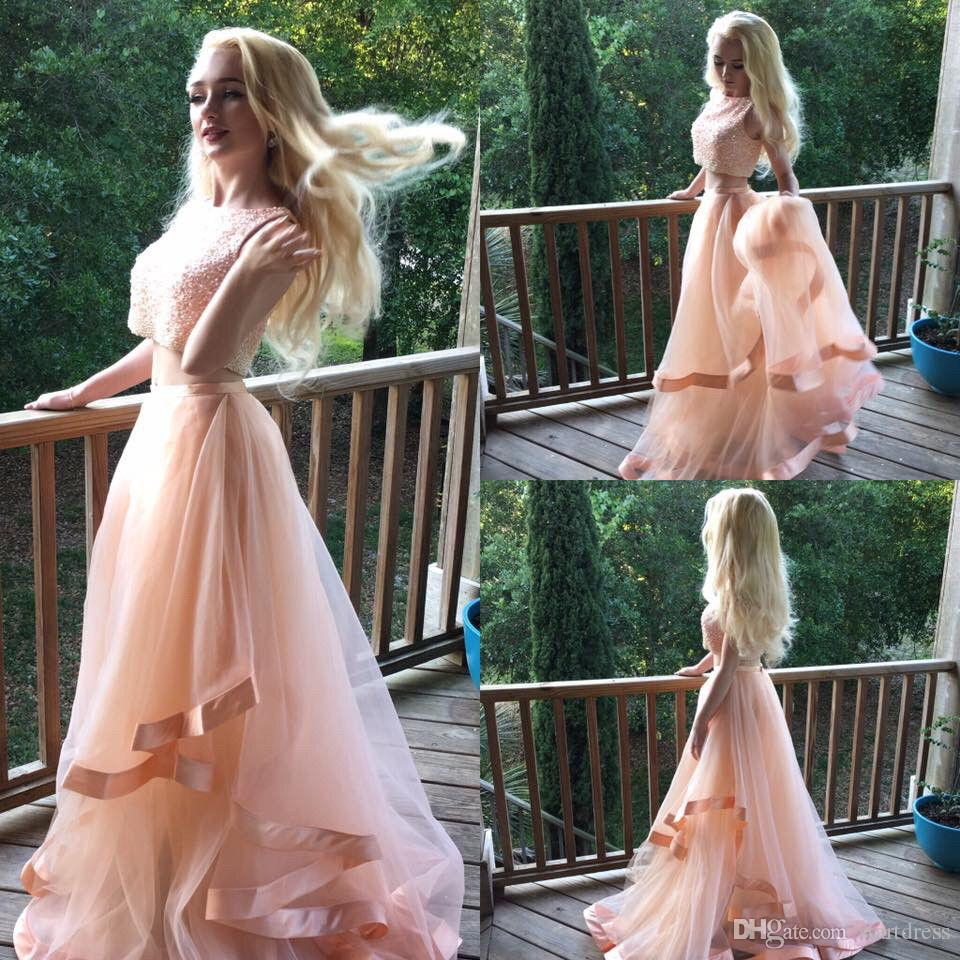 Modest Country 2 Piece Prom Dresses Cheap Top Beaded Sweet 16 Dresses Party Evening Long Tiered Peach Vintage Style pastel Prom Gowns 2018