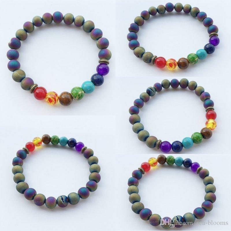 Yoga Agate Bracelet Spiritual Bracelet Wrist Mala Bracelets Rainbow Beads  Yoga Jewelry Charm Frosted Meditation Bracelet B915S