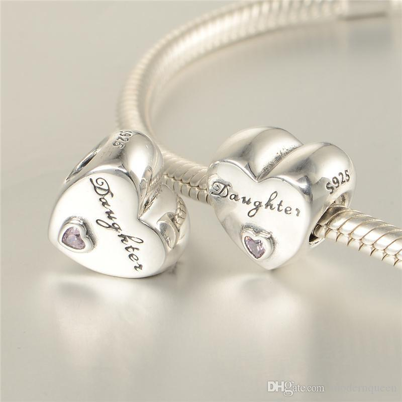 a2adeeed5 5 pcs/lot Genuine daughter heart charms S925 sterling silver fits pandora  style bracelets DAUGHTER'S LOVE CHARM 791726PCZ H9