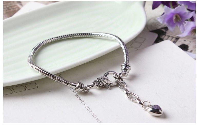 Wholesale 925 Sterling SilverCharm Bracelets 3mm Snake Chain Labster Fit Pandora Charms Bead Bracelet Fashion Jewelry DIY Gift For Men Women