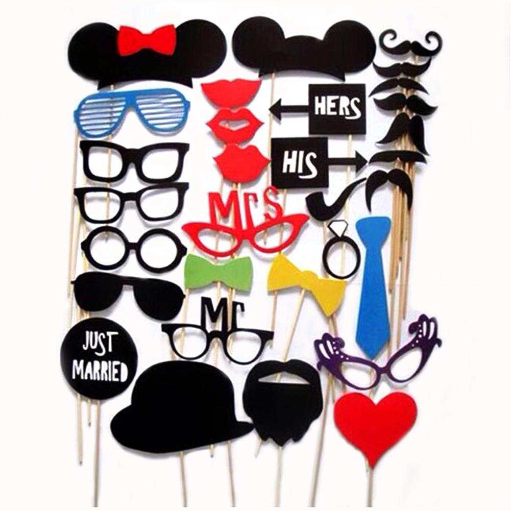 31/44/58/76 pcs Mustache Stick Wedding Party Photo Booth Props Photobooth Funny Masks Bridesmaid Prop Lips Decoration 4style