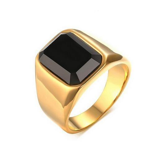 2018 High Quality Men Gold Color Titanium Ring Black Square Stone
