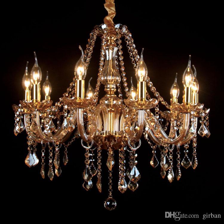 Longree Goldener eleganter Leuchter Kristall-Licht-Glas Lobby Kristall-Kronleuchter Kronleuchter Luxus Kristall hängen Kronleuchter für Wohnkultur