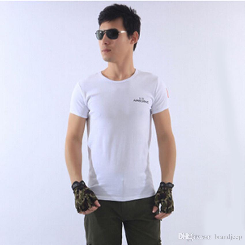 Frete grátis ao ar livre do verão dos homens de algodão gola redonda apertado tactical commandos combat mangas curtas camisetas 101 36