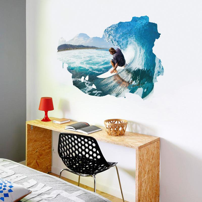 Большой Синий Серфинг Человек Стикеры Стены Грубое Море Surfer Wall Art Mural Плакат Гостиная Спальня Мальчики Подростки Комната Стены Аппликация Декора Росписи